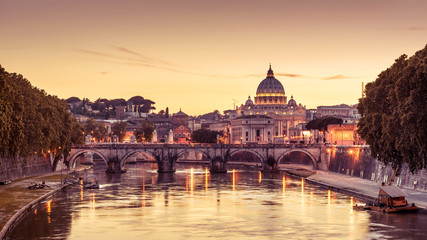 Scenic night view of Rome and Vatican