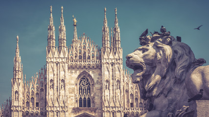 Fototapete - The stone lion on Cathedral Square in Milan, Italy