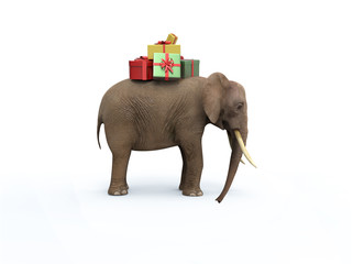 Elephant with gift boxes. 3D image