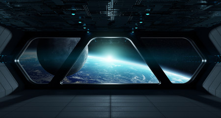 Wall Mural - Spaceship futuristic interior with view on planet Earth