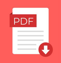 PDF download flat isolated icon. Vector cartoon illustration