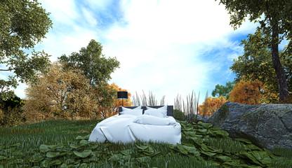 dormire all'aperto, camping, letto nel bosco, illustrazione 3d
