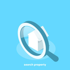 house icon with magnifying glass, isometric image