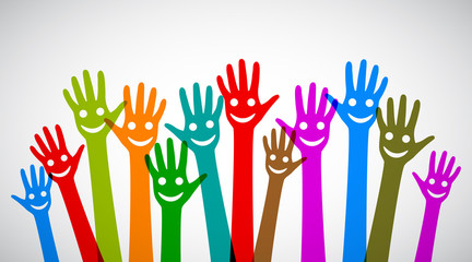 A group of smiling hands - stock vector