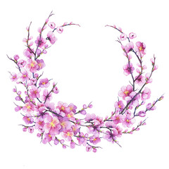 Banner, round frame with pink sakura flower. For wedding, invitation, Valentine's Day, Mother's Day. Watercolor hand drawn painting illustration isolated on white background.