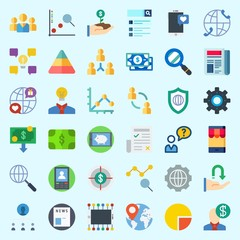 Icons about Marketing with newspaper, growth, location, money, worldwide and settings
