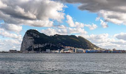 View on Gibraltar rock from Spanish town La Linea de la Concepcion.