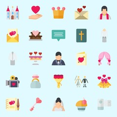 Icons about Wedding with video camera, wedding cake, suit, church, bouquet and wedding arch