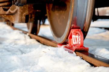 rolling stock wheel on rail fixed by railway brake Shoe