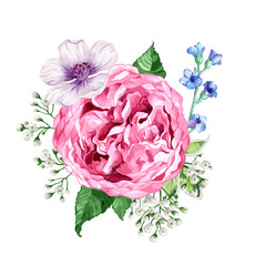 Square composition of flowers roses, hydrangea, apple tree flowers and leaves in watercolor style isolated on white background. Editable elements.