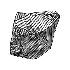 Gem, diamond and mineral design. Sketchy mineral and hand drawn crystal stone and rock. Vector.