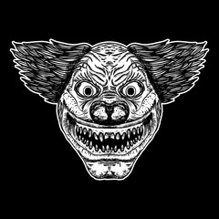 Evil scary clown monster with big nose and sharp teeth. Blackwork adult flesh tattoo concept. Horror cartoon illustration isolated on black background. Laughing angry insane joker head. Vector.