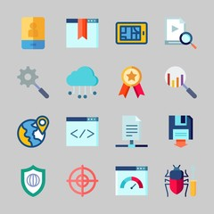 Icons about Seo with search, cloud computing, archive, download, coding and bug