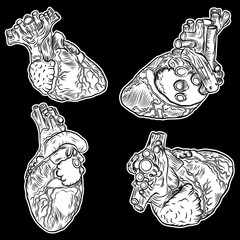 Set of boho heart black works, dot work flesh tattoo concept. Symbol of love and life. Sketch isolated on black for t-shirt print, poster, textile. Vector.