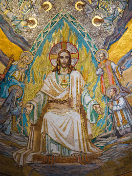 Gold mosaic on the ceiling of the Basilica of the Sacre Coeur in Montmartre, Paris. It is one of the largest gold mosaics in the world.