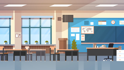Empty School Class Room Interior Modern Classroom Board Desk Flat Vector Illustration