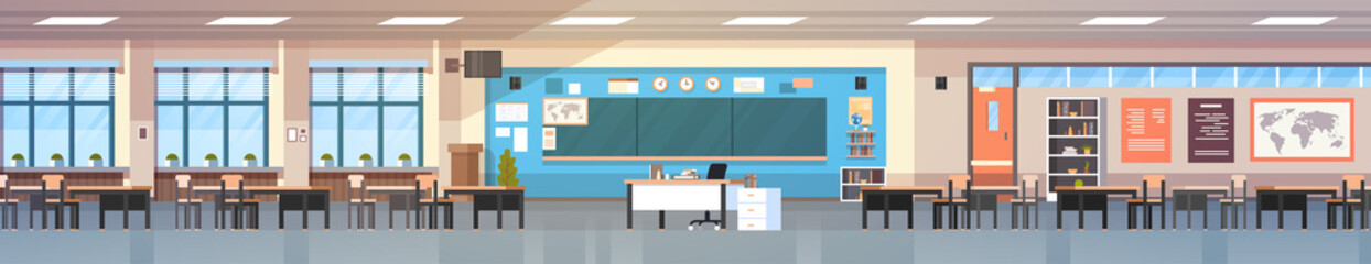 Empty Classropm Interior Background School Class Room With Board And Desks Horizontal Banner Flat Vector Illustration