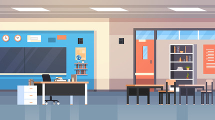 Class Room Interior School Classroom With Board And Desks Nobody Flat Vector Illustration