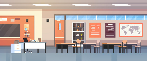 Classroom Interior Empty Modern School Class With Chalk Board And Desks Flat Vector Illustration