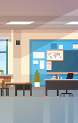 Classroom Empty School Class Interior With Chalk Board Desks And Teacher Table Flat Vector Illustration