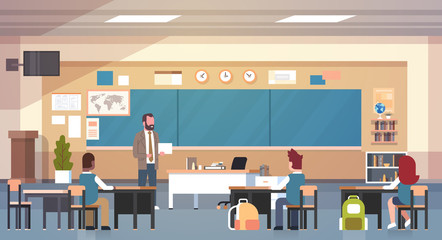 Male Teacher And Pupils In Classroom On Lesson Teaching School Class Flat Vector Illustration