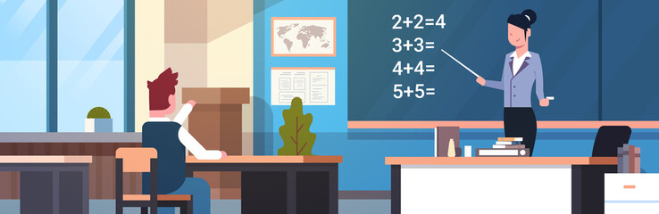 School Math Lesson Female Teacher With Pupil Boy In Classroom Horizontal Banner Flat Vector Illustration