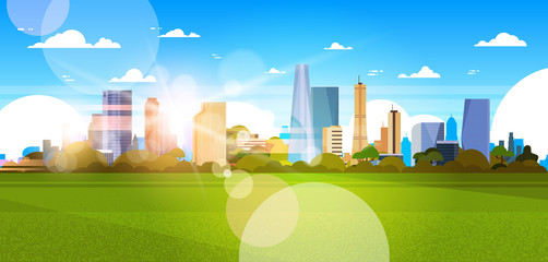 Beautiful City Skyline With Sunlight Over Skyscrapers Buildings Cityscape Concept Horizontal Banner Flat Vector Illustration