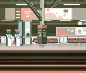 Train Station Interior Empty Platform With No People Transport And Transportation Concept Flat Vector Illustration