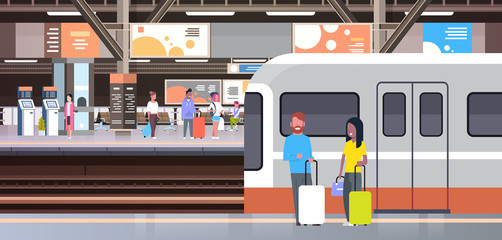 Railway Station With People Passengers Going Off Train Holding Bags Transport And Transportation Concept Vector Illustration Fotomurales