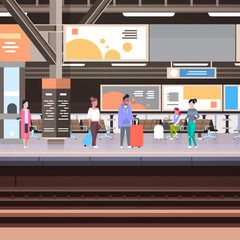Railway Station Platform With Passengers Waiting For Train Departure Transportation Concept Vector Illustration