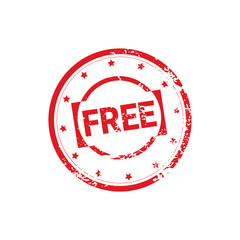 Free Bonus Stamp Rubber Ink Sticker Design Shopping Badge Icon Isolated Vector Illustration