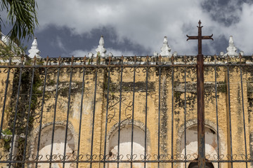 beautiful abandoned church. catholic temple in Mexican town shows signs of decay and time