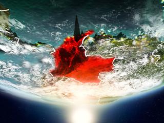 Fond de hotte en verre imprimé Volcan Colombia with sun on planet Earth