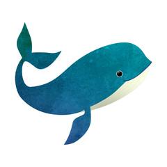 Watercolor vector cute whale illustration