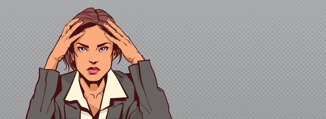 Portrait Of Sad Business Woman Holding Head Businesswoman Stressed Horizontal Banner With Copy Space Vector Illustration