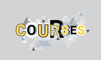 Courses Creative Word Over Abstract Geometric Shapes Background Web Banner Vector Illustration