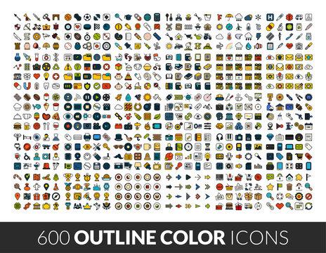 Large icons set, 600 outline color vector pictogram
