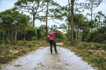 Photographer asian women Traveling photograph Nature. travel relax in the holiday walk in the forest. travel relax in the holiday.  Thailand