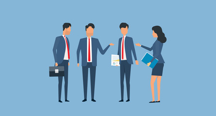 flat vector group business team meeting concept and group business  character design