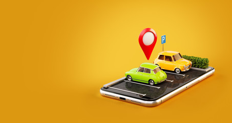Unusual 3d illustration os smartphone application for online searching free parking place on the map. Parking and car sharing concept