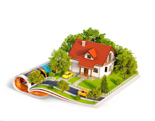 White house of dream with white fence, garden and trees on opened pages of magazine.