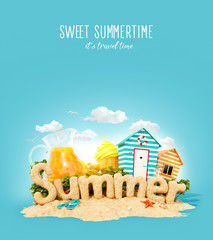 The word Summer made of sand on tropical island. Unusual 3d illustration of summer vacation. Travel and vacation concept.