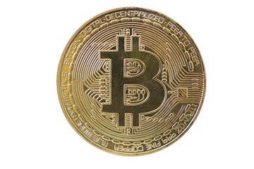 bitcoin on white background. crypto currency
