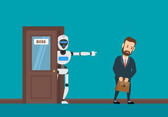 robot android dismiss a businessman