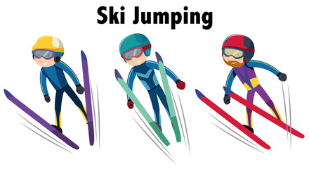 Winter sports with ski jumping