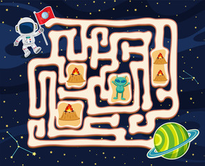 Maze game template with alien in space