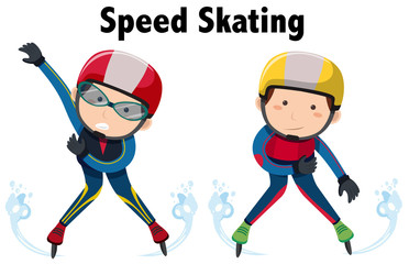 Two people doing speed skating