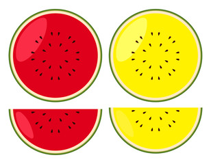 Watermelons in red and yellow