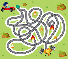 Maze game template with boy in racing car