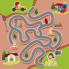 Maze game template with kid in racing car